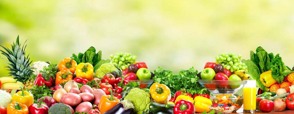 Fresh Fruits and vegetables. Health and diet background ...